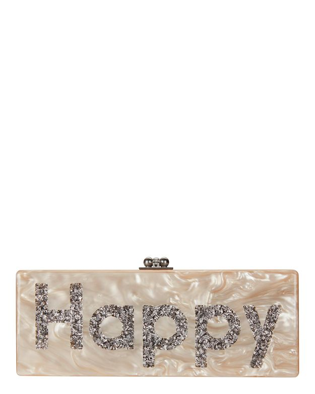 Edie Parker Flavia Happy Box Clutch: Nude