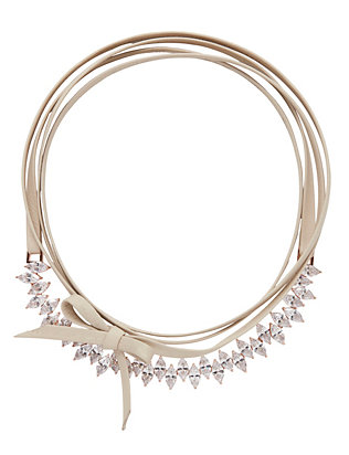 Jagged Edge Crystal/Leather Choker: Rosegold