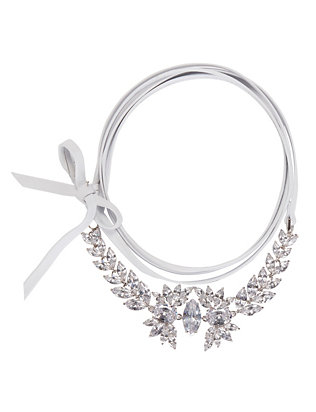 Fallon Monarch Leather Wrap Choker: White