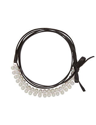 Fallon Monarch Black Leather/Pearl Wrap Choker