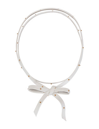 Hammered Gold Stud Leather Choker: White