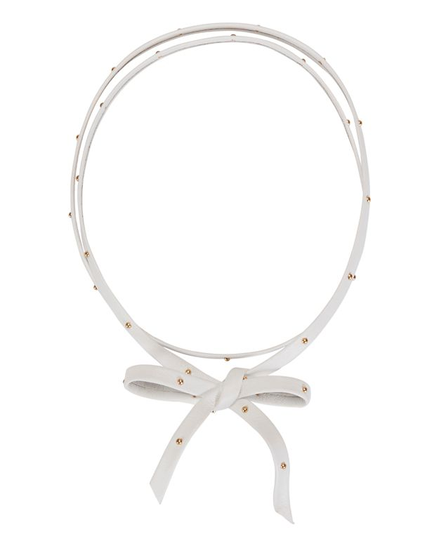 Fallon Hammered Gold Stud Leather Choker: White