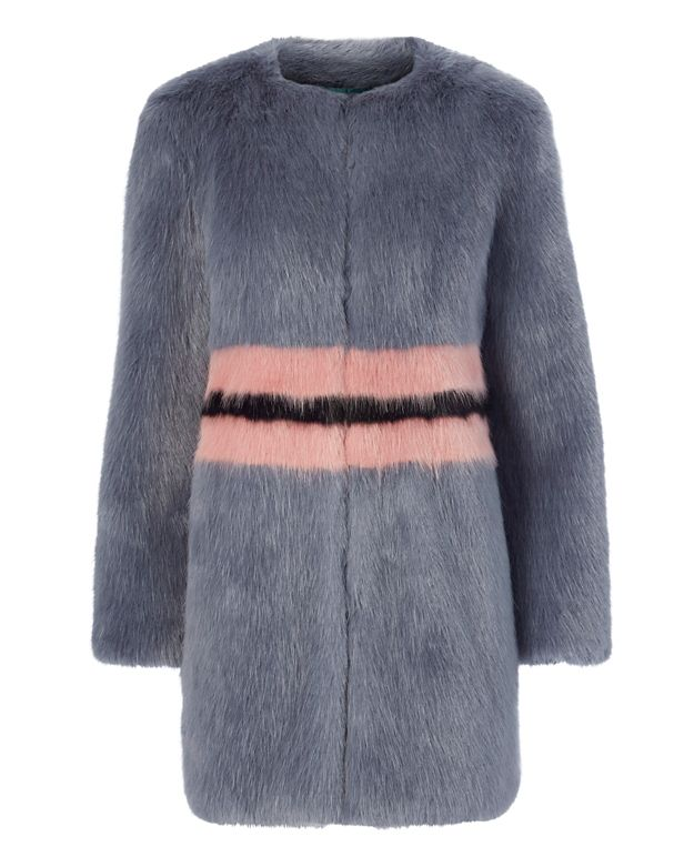 Shrimps Frederica Collarless Faux Fur Jacket
