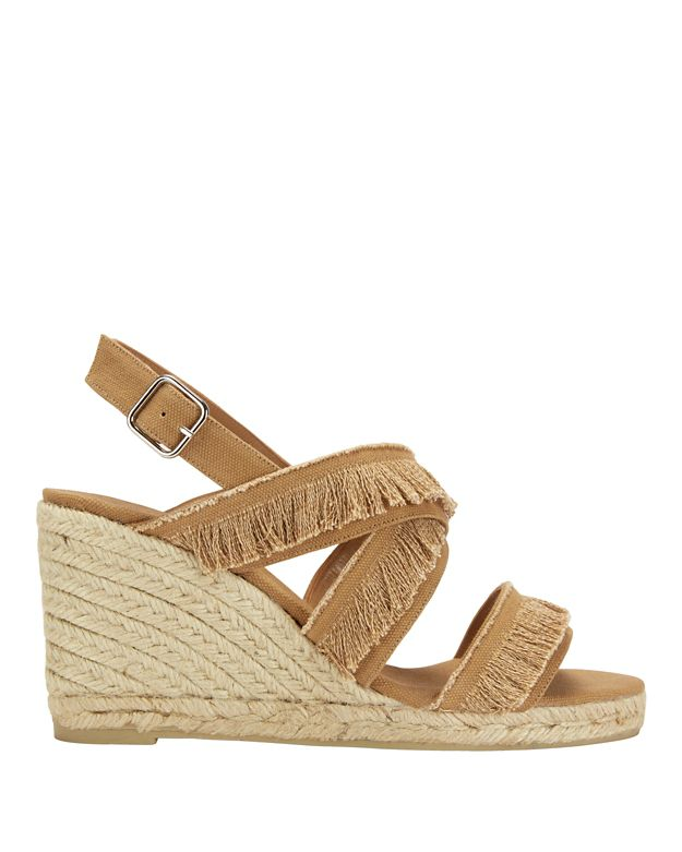 Castaner Fringe Cross Strap Canvas Wedge
