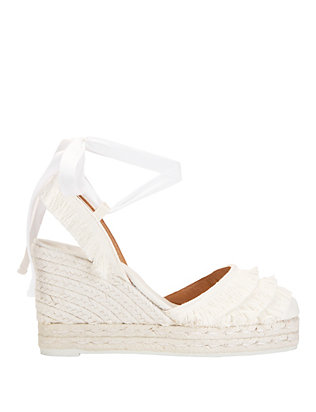 Castaner Tiered Fringe Espadrille Wedge: White