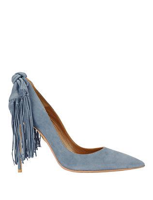 Fringe Tie Suede Pumps: Blue Jean