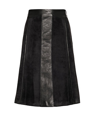 Derek Lam Vertical Seam A-Line Suede/Leather Skirt
