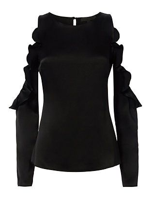 Ruffled Cut Out Shoulder Black Blouse