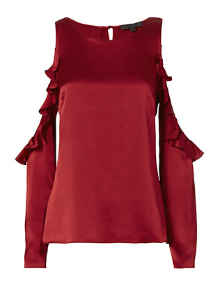 Cushnie Et Ochs Ruffled Cutout Shoulder Blouse