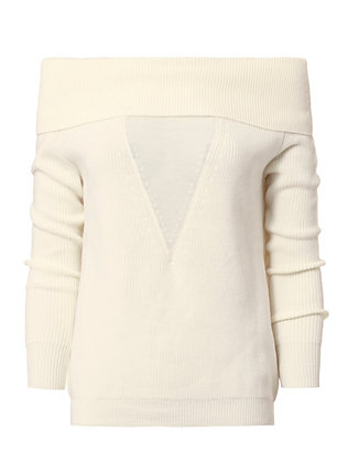 Foldover Shoulder Sweater