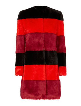 Rosso Faux Fur Striped Coat