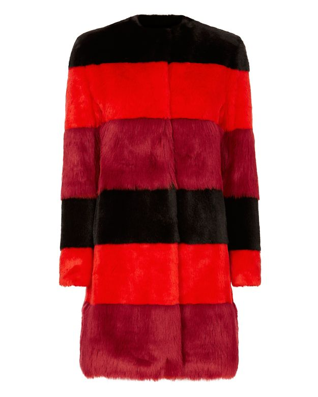 Ainea Rosso Faux Fur Striped Coat