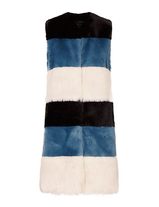 Ainea Celeste Faux Fur Striped Vest