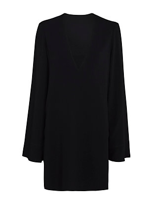 Helmut Lang Crepe V Neck Dress: Navy