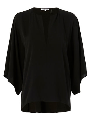 Bell Sleeve Silk Blouse: Black
