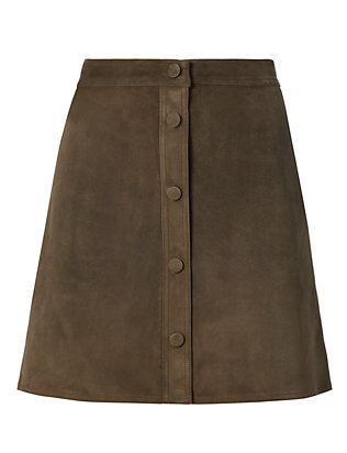 Helmut Lang Suede Button Front Skirt