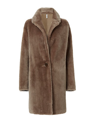 Helmut Lang Shearling Lamb Reversible Leather Coat