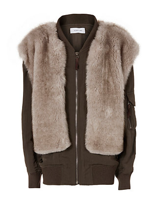 Helmut Lang Two-In-One Bomber Jacket & Faux Fur Vest