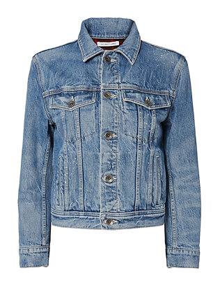 Helmut Lang Shrunken Denim Jacket with Plaid Lining