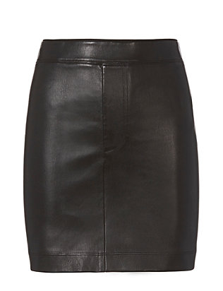 Black Stretch Leather Skirt