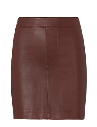 Mahogany Stretch Leather Skirt