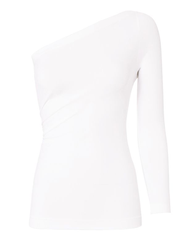 Helmut Lang White One Shoulder Top