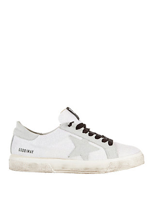 Golden Goose May White Glitter Sneakers