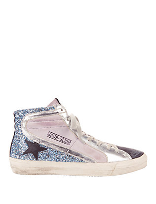 Golden Goose Lilac Suede and Glitter Slide Sneakers