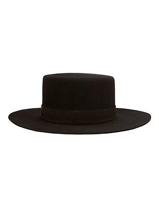 Gabrielle Felt Boater Hat: Black