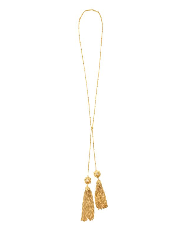 Mallarino Gold Tassel Tie Necklace