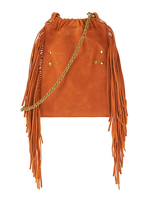 Jerome Dreyfuss Gary Fringe Leather Crossbody: Orange