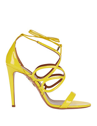 Aquazzura Gigi Tie-Up Leather Sandal: Yellow