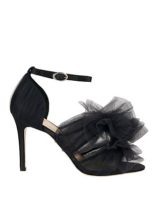 Isa Tapia Tulle Double Bow Sandal: Black