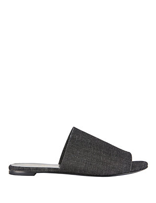 Robert Clergerie Black Denim Flat Slides