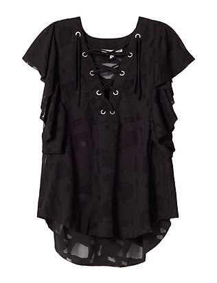 Gilka Lace-Up Burn Out Top: Black
