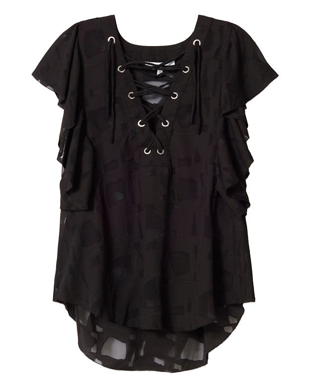 IRO Gilka Lace-Up Burn Out Top: Black
