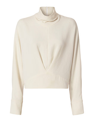 IRO Greta Mock Neck Silk Blouse: Ivory