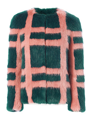 Shrimps Gustav Faux Fur Plaid Jacket