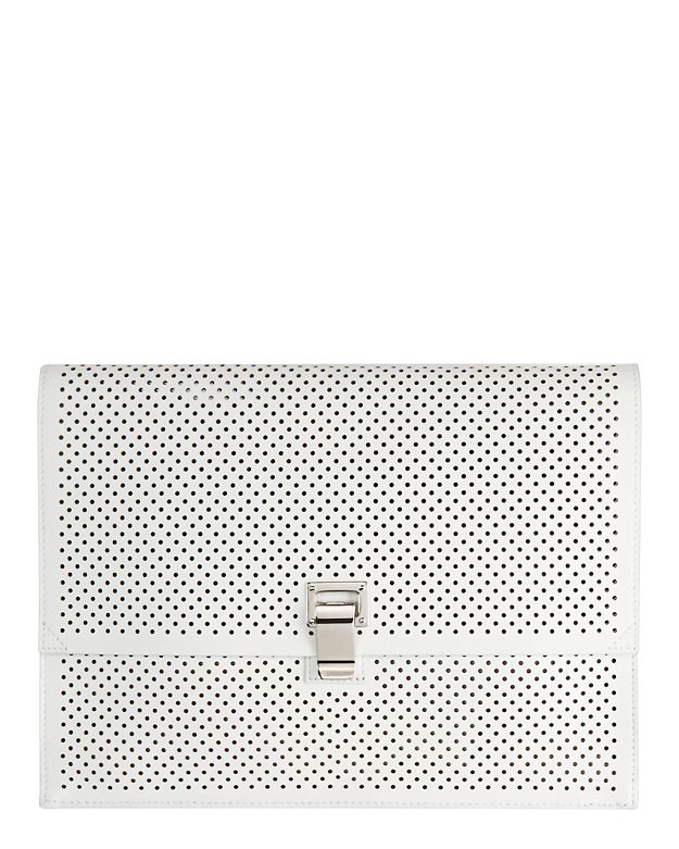 Proenza Schouler Perforated Leather Lunchbag Clutch: White