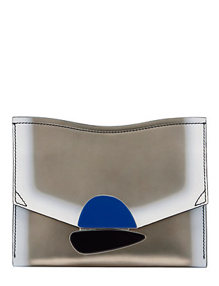 Proenza Schouler Stone Flap Leather Clutch