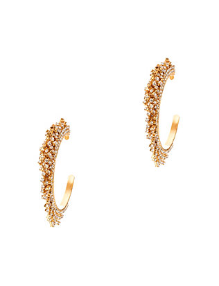 Elizabeth Cole Crystal Fringe Hoop Earrings