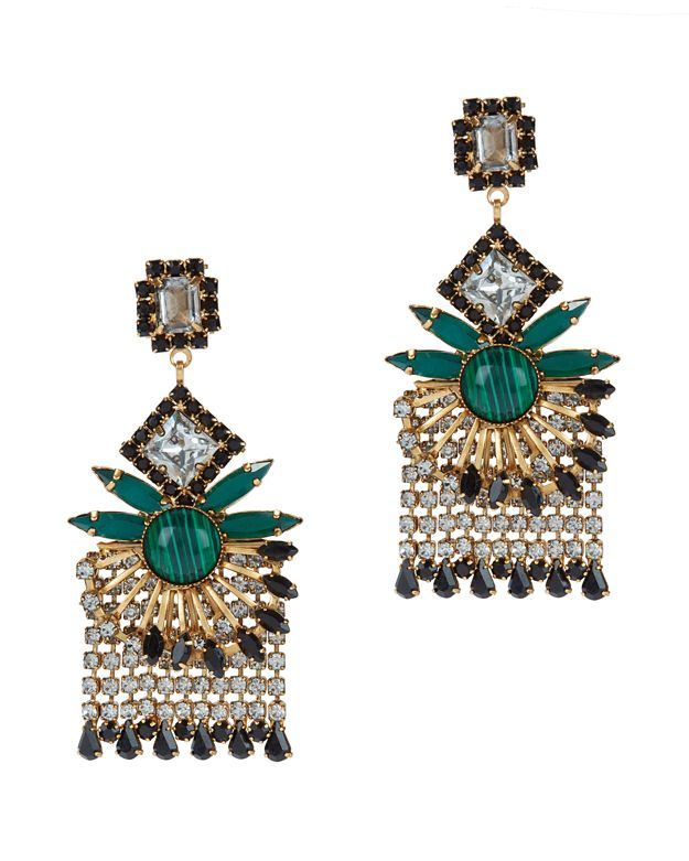 Elizabeth Cole Malachite Crystal Fringe Earrings