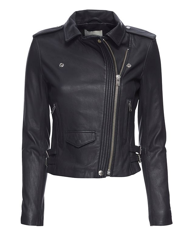 IRO EXCLUSIVE Hana Cropped Leather Moto Jacket: Midnight