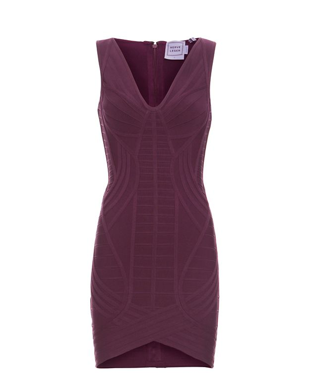 Herve Leger Notched Hem V Neck Bandage Dress: Eggplant