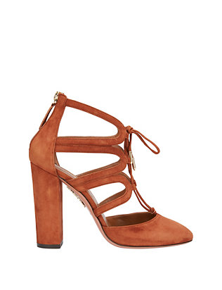 Aquazzura Holli Stack Heel Suede Cage Pumps
