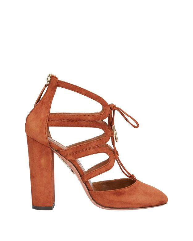 Aquazzura Holli Stack Heel Suede Cage Pump