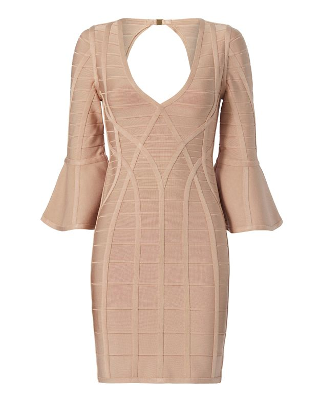Herve Leger Yasmine Flare Sleeve Bandage Dress