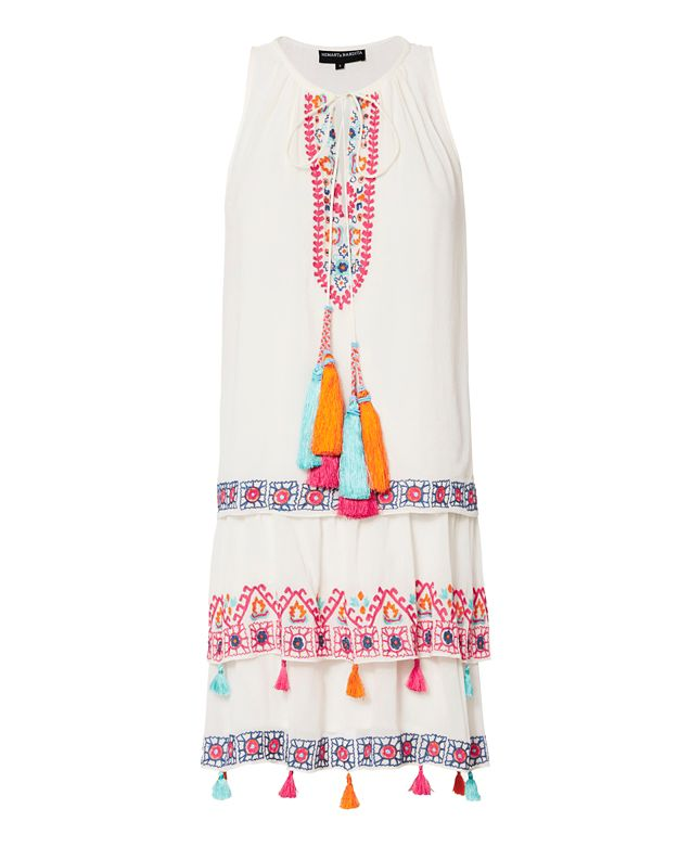 Hemant & Nandita Layered Embroidery Mini Swing Dress