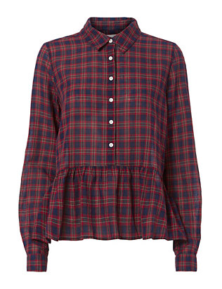 Birds of Paradis x Trovata Red Plaid Peplum Shirt