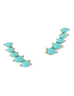 Jennifer Zeuner EXCLUSIVE Pear Shaped Turquoise Stone Ear Climber
